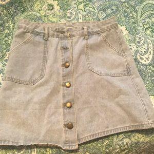 Light washed denim jean skirt